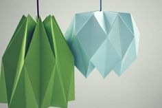 grün blau Origami Lampenschirm Anleitung originell