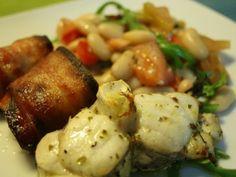 Receita Prato Principal : Tamboril marinado e uma salada de feijão branco de Pitadasecolheradas