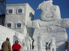 ghostbusters and marshmallow man snow sculpture
