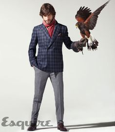"Awesome photos from Esquire Editorial ""The Alpha Male"". #esquire #fashion #style #hawk #plaid #jacket"