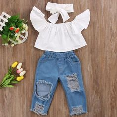 Fashion Baby girls clothes Baby Off shoulder Crop Tops + Broken Hole Denim Pant Jean Headband Toddler Kids Clothes Ropa de niña, Baby Girl Fashion, Fashion Kids, Toddler Fashion, Fashion Clothes, Latest Fashion, Winter Fashion, Fashion Purses, Fashion Tights, Women's Fashion