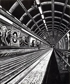 """View Subterranea Bethnal Green"", Wood engraving by Rebecca Coleman, Limited edition print of Artwork available to buy online, direct from the artist Intaglio Printmaking, Kids Printmaking, Linocut Prints, Art Prints, A Level Art Sketchbook, Bethnal Green, Green Art, Wood Engraving, City Art"