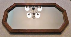 """Vintage Oak Framed Octagon Wall Mirror 22 1/4"""" X 11 1/4"""" by RadiogirlCarolyn on Etsy"""