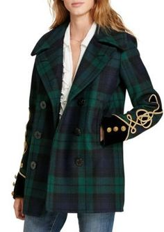 Denim Supply Ralph Lauren Multi Tartan Wool Pea Coat