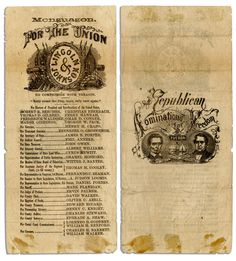 Michigan Ballot from The Lincoln & Johnson 1864 Presidential Campaign/ Election.  *s*