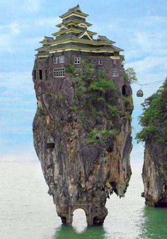 Original caption: The Dunmore Pineapple House in Scotland. Doc's Caption: search the Dunmore Pineapple house in Google. Go ahead, I'll wait....see? It only takes a simple search to realize how gullible people are and how impossible this building would be. Photoshop level: 3 for the blending of the random building into the rock.