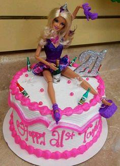 aw man I am.so makin this Cake Table Birthday, Funny Birthday Cakes, 21st Birthday, Birthday Celebration, Girl Birthday, Birthday Memes, Drunk Barbie Cake, Barbie Party, 21st Bday Ideas