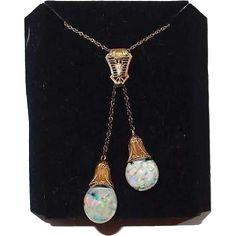 Antique Solid 14K Gold Double Floating Opal Necklace---#VintageBeginsHere at www.rubylane.com @rubylanecom #artnouveau