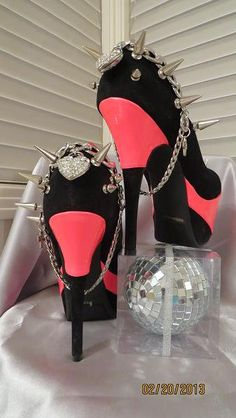 971ec36f1a4 High Heel Platform Spiked Women Shoes Black  Pink Neon size 7 1 2...A  SpikesByG Design