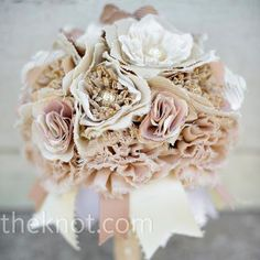 Vintage, blush pinks, creams and burlap tan...adorable bouquet and relatively inexpensive too
