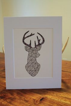 Purple and Gray Deer Head Silhouette Triangle Line Drawing