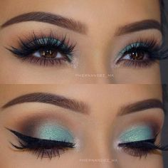 Teal and gold eye makeup