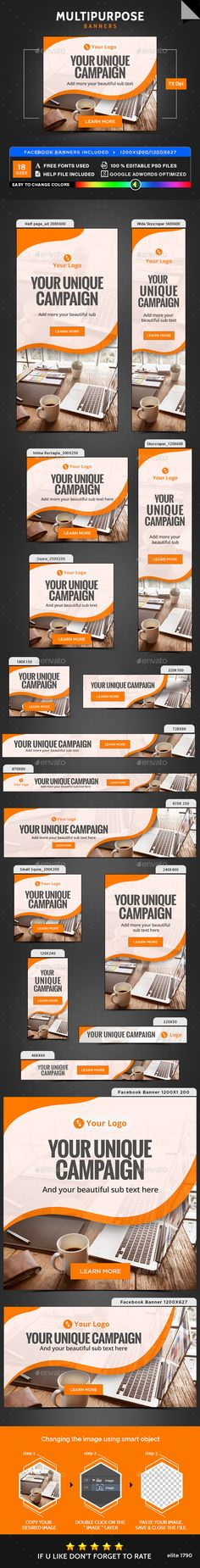 Multipurpose Banners Design Template - Banners & Ads Web Element Template PSD. Download here: https://graphicriver.net/item/multipurpose-banners/17740963?s_rank=14&ref=yinkira