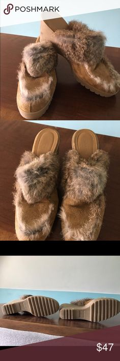 Authentic Coach Kaela suede wedge mule 7.5 Like New...hard to find! Almost no signs of wear. Coach Kaela 7.5 tan mules, suede upper, rabbit fur, rubber sole/wedge, made in Italy, no box. Slightly uneven fur trim on top around toe (see photos) Coach Shoes Mules & Clogs