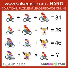 Solvemoji - Free teaching resources - Emoji math puzzle, great as a primary math starter, or to give your brain an emoji game workout. Math Puzzles Brain Teasers, Math Logic Puzzles, Math Quizzes, Mind Puzzles, Math Riddles With Answers, Tricky Riddles, Puzzle Quotes, Printable Crossword Puzzles, Sudoku