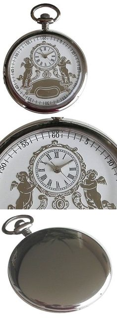 Other Pocket Watches 398: Polished Chrome Pocket Watch With Embossed 2-Tone Silver Tone Antique Dial BUY IT NOW ONLY: $65.0