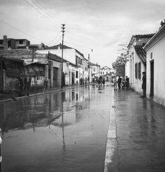 Οδός Ρούσβελτ, μετά από βροχή, λίγο πριν την οδό Παπακυριαζή._Χρονολογία_ 1948._Φωτογράφος_ Τάκης Τλούπας