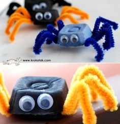 Egg box and pipe cleaner spiders Halloween Activities, Halloween Kids, Halloween Crafts, Activities For Kids, Projects For Kids, Diy For Kids, Crafts For Kids, Bug Crafts, Preschool Crafts