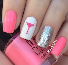 Pink nail polish with a silver glitter accent nail plus a martini glass nail art.  #nailart