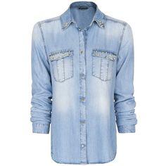 MANGO Studded Denim Shirt ($80) ❤ liked on Polyvore