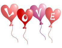 Valentine's Day Love Heart Shaped Balloons Royalty Free Stock Photos
