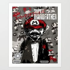 Super Mario Father Art Print by Beery Method | Society6