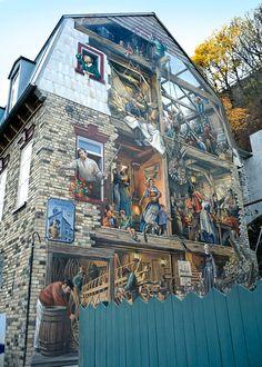 Fresque du Petit-Champlain, Old Quebec, Canada