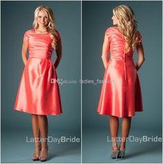 Wholesale Bridesmaid Dress - Buy Lustrous Charming A-Line Bridesmaid Dresses Maid of Honor Gown Crew Neckline Short Sleeves Taffeta Pleat Zipper Back Knee Length Stunning, $50.27 | DHgate.com