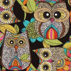 black owl fabric with colourful owls Robert Kaufman