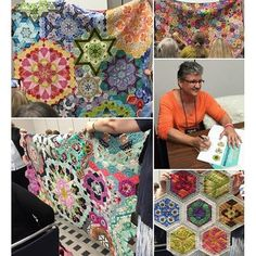 "@katja_marek is in the house – #Schoolhouse, that is! Katja's book ""The New Hexagon"" is currently our #1 bestseller, with thousands of quilters joining her #millefiorequiltalong on Facebook. Can you blame them? Look at the stunning quilts you can make with the 52 #epp blocks in the book! #thenewhexagon #quiltmarket #martingaleatmarket"
