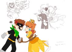 Luigi and Daisy (c) Nintendo =============== i don't know what to call it yet , i remember drawing something like this years ago it was 3 pa. Luigi X Daisy - Old Comic Remake Mario And Luigi Games, Mario Video Game, Super Mario Games, Super Mario Art, Mario Kart, Princesa Daisy, Princesa Peach, Luigi And Daisy, Mario Fan Art
