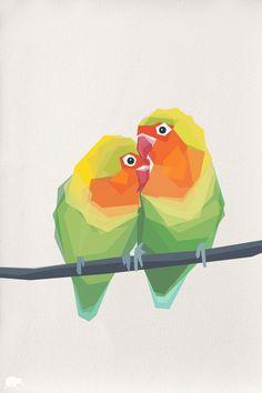 #geometric Love Birds