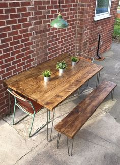 Industrial Dining Table And Seating bench Hair Pin Legs Rustic Shabby Chic | eBay