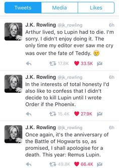JKR apologizing for another #BattleOfHogwarts death: Remus Lupin #may2nd #remember /*