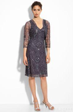 Charming A-line V-neck Knee-length 3/4 Length Sleeve Sequins Mother of the Bride Dress at Storedress.com