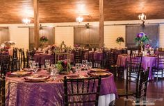 Wedding reception with shades of purple.  Floral and décor by Southern Event Planners Photo by Snap Happy