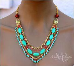 Triple Strand Aqua and Tangerine Chain Necklace   Melekdesigns - Jewelry on ArtFire Sold!