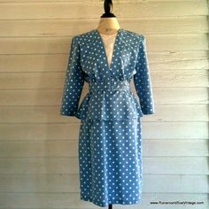 Vintage 1980s does 1940s Blue and White Polka Dot Dress by runaroundsuevintage, $42.00