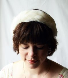 Vintage White Fur Headband