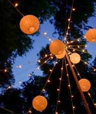 starry lights coupled with Paper lanterns