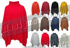 Ladies Poncho Knitted Jumper Oversized Womens Cape Punchu Jumper Jacket Kimono