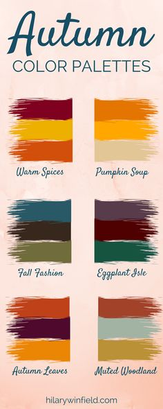 These six autumn color palettes are the perfect inspiration for seasonal home decor, brand colors, or fall-inspired artwork! These six autumn color palettes are the perfect inspiration for seasonal home decor, brand colors, or fall-inspired artwork! Deep Autumn Color Palette, Colour Pallette, Colour Schemes, Color Trends, Color Combos, Autumn Colours, Best Color Combinations, Autumn Wedding Colors, Autumn Inspiration