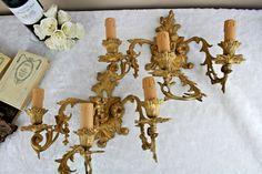 PAIR huge XL putti cherubs Brass 3 arms louis XVI decor wall lights sconces  | Antiques, Architectural & Garden, Chandeliers, Fixtures, Sconces | eBay!