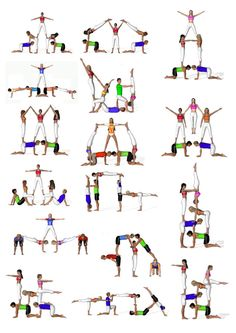 There are a lot of yoga poses and you might wonder if some are still exercised and applied. Yoga poses function and perform differently. Each pose is designed to develop one's flexibility and strength. Gymnastics Stunts, Acrobatic Gymnastics, Gymnastics Workout, Cheer Stunts, Cheerleading, Group Yoga Poses, Acro Yoga Poses, 3 Person Yoga Poses, Partner Yoga