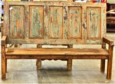 Bench made from old door and reclaimed wood