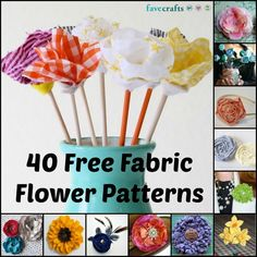Garden of 40 Free Fabric Flower Patterns. With tutorials on how to make earrings, headbands, pins, home decorations, embellishments and mor Felt Flowers, Diy Flowers, Fabric Flowers, Paper Flowers, Fun Crafts, Crafts For Kids, Fleurs Diy, Fabric Flower Tutorial, Bow Tutorial