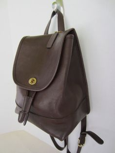 Coach Brown Leather BackPack Purse Made in USA by BlondiesBags Brown  Leather Backpack 94837b6308b