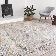 Alexander Home Adrian Distressed Traditional Border Area Rug x - Multi/ Stone), Blue Rug Under Kitchen Table, Yellow Rug, Red Rugs, Indoor Rugs, Muted Colors, Online Home Decor Stores, Rugs In Living Room, Colorful Rugs, Rug Size