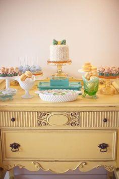 cute dessert buffet. love the vintage dresser.