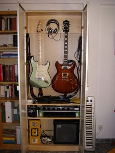 Learning Guitar: Want To Know It All? Guitar Wall, Guitar Room, Music Guitar, Guitar Diy, Home Studio Musik, Music Studio Room, Guitar Storage, Guitar Display, Music Furniture
